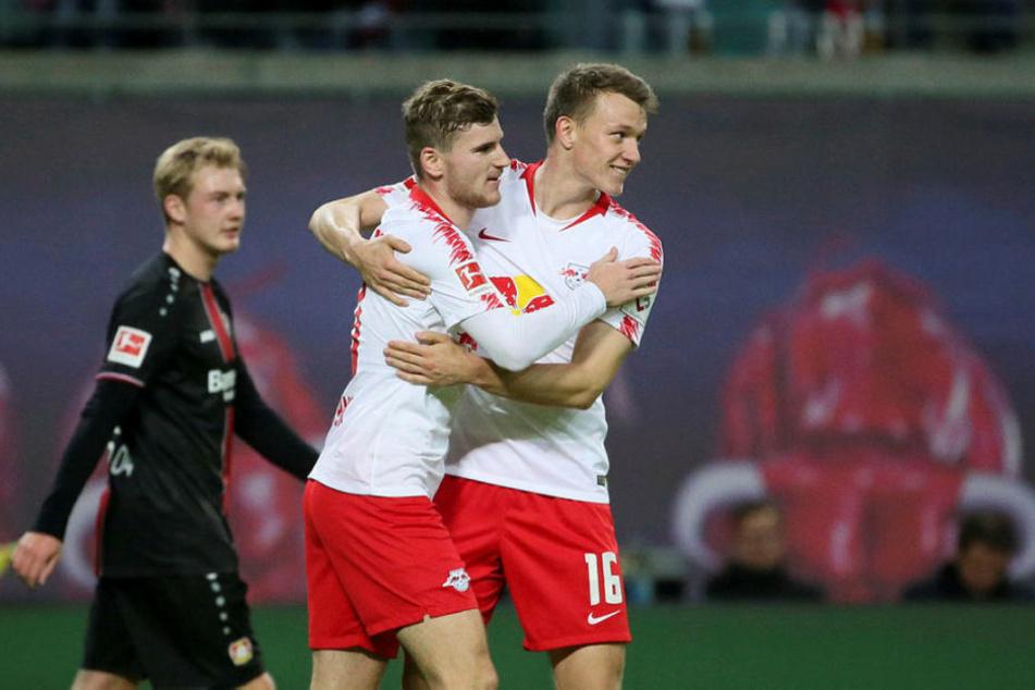 Lediglich Stürmer Timo Werner (M.) wurde von Joachim Löw für die anstehenden Länderspiele gegen Russland und die Niederlande von RB Leipzig nominiert. Auch Lukas Klostermann wäre Ralf Rangnick zufolge ein Kandidat.