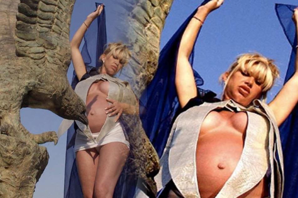 Die schwangere Carmen posiert in einem ungewöhnlichen Shooting-Outfit.