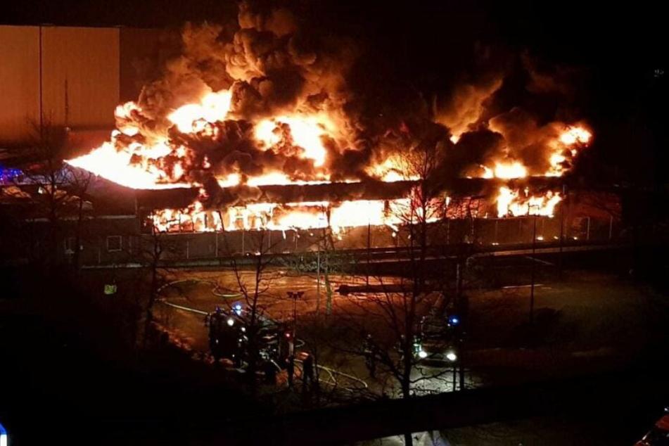 Die Halle wurde durch das Feuer komplett zerstört.