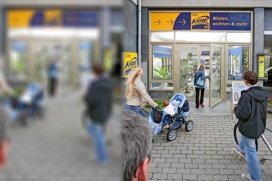 Ein Service-Kiosk der LWB. Nach eigenen Angaben besitzt das Unternehmen rund 35.100 Wohnungen.