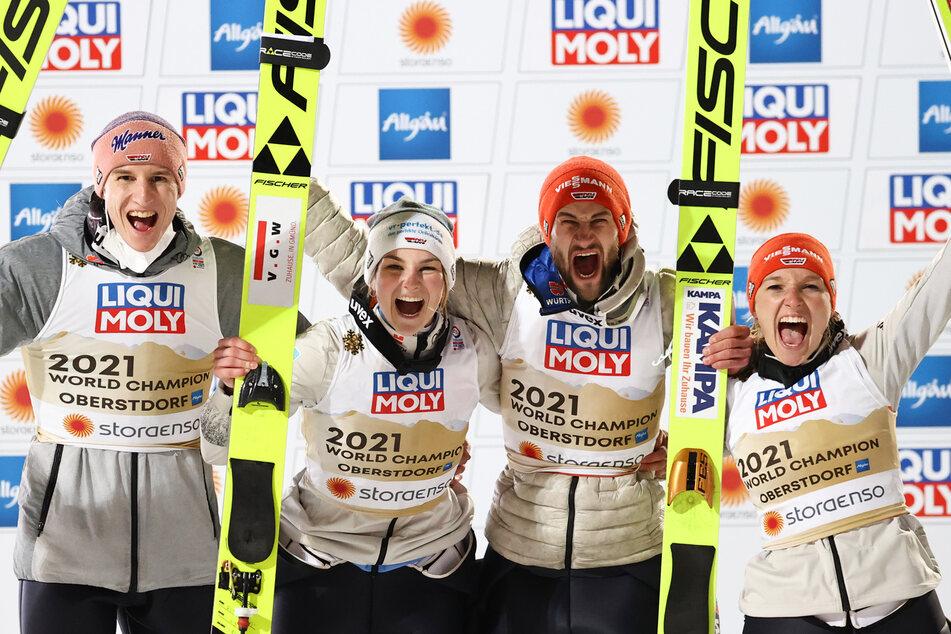 Die Serie geht weiter: Deutsches Skisprung-Mixed holt wieder Gold