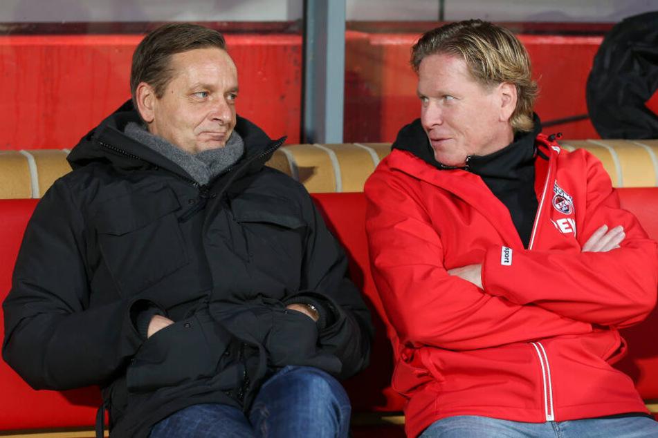 """Der Klassenerhalt könnte für FC-Sportdirektor Horst Heldt (l) und FC-Trainer Markus Gisdol zur """"Mission Impossible"""" werden."""