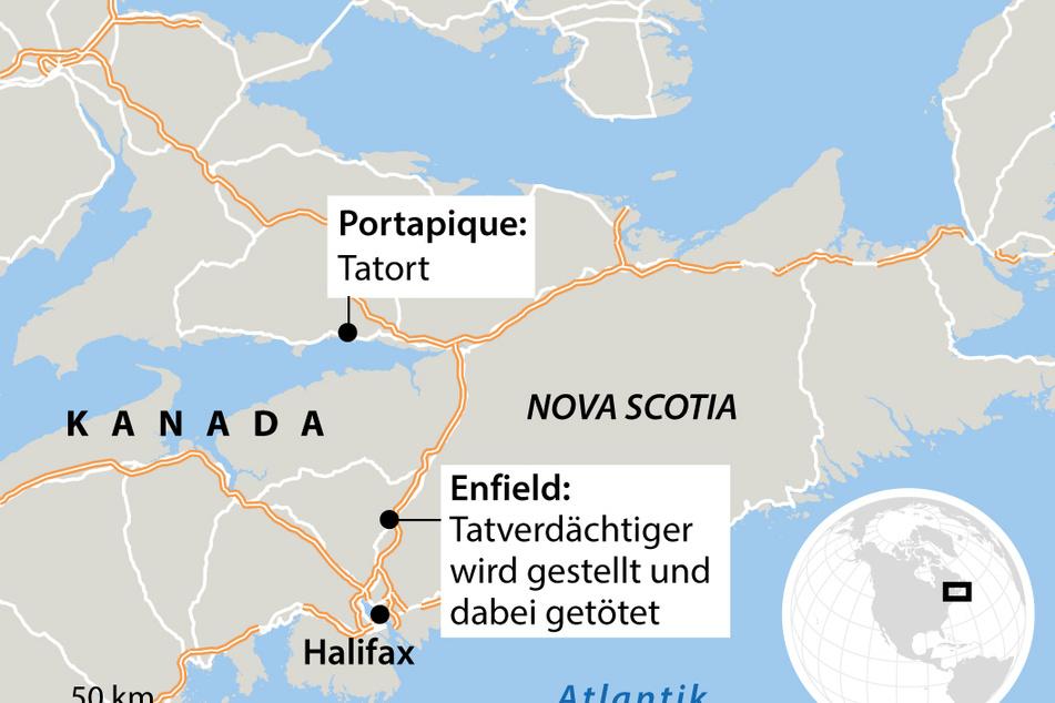 Karte der Provinz Nova Scotia mit Verortung des Tatorts.
