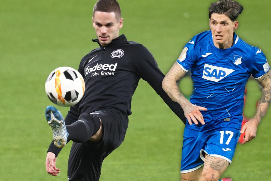 Die Fotomontage zeigt Mijat Gacinovic (25/l.) und Steven Zuber (28), die ab der kommenden Saison die Plätze bei Eintracht Frankfurt und der TSG Hoffenheim tauschen werden.