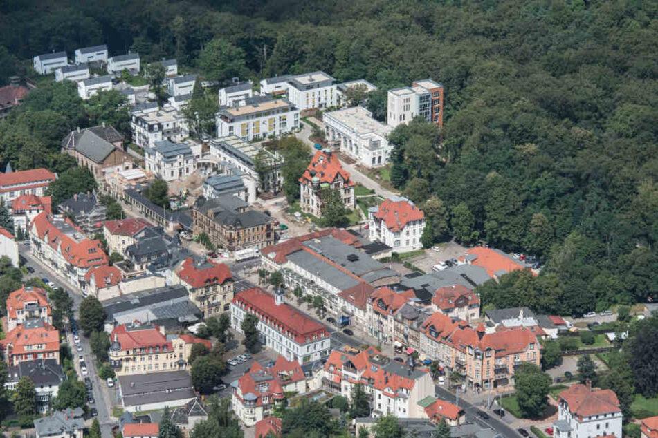 Ein Blick aus der Vogelperspektive auf das Lahmann-Sanatorium, Plattleite und Parkhotel - drei der wichtigsten Adressen des noblen Stadtviertels.