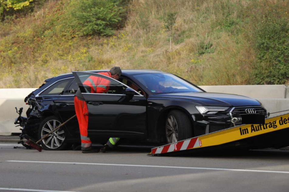 An diesem Audi endete die Flucht des Täters mit dem Mercedes.
