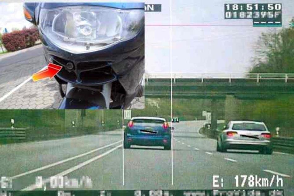Nur ein kleines Kamera-Objektiv lugt aus der BMW-Verkleidung.