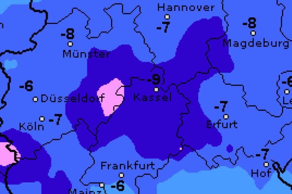 Die Temperaturen fallen in der Nacht bis auf knapp minus sieben Grad.