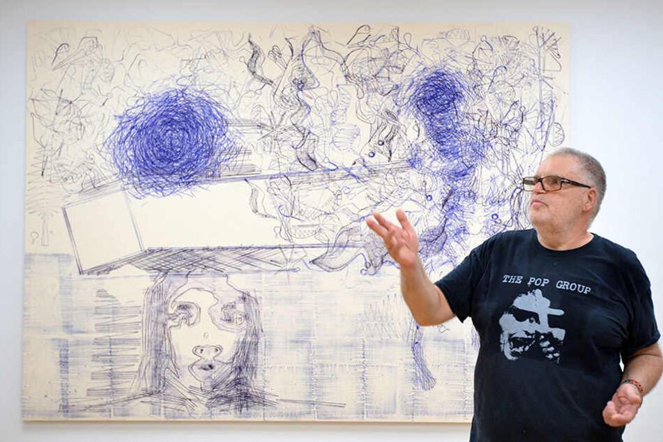 """""""Vom Stuhl gefallener Akt mit Trompete"""" heißt die neueste Ausstellung mit Werken von Markus Oehlen (61) in den Kunstsammlungen Chemnitz."""