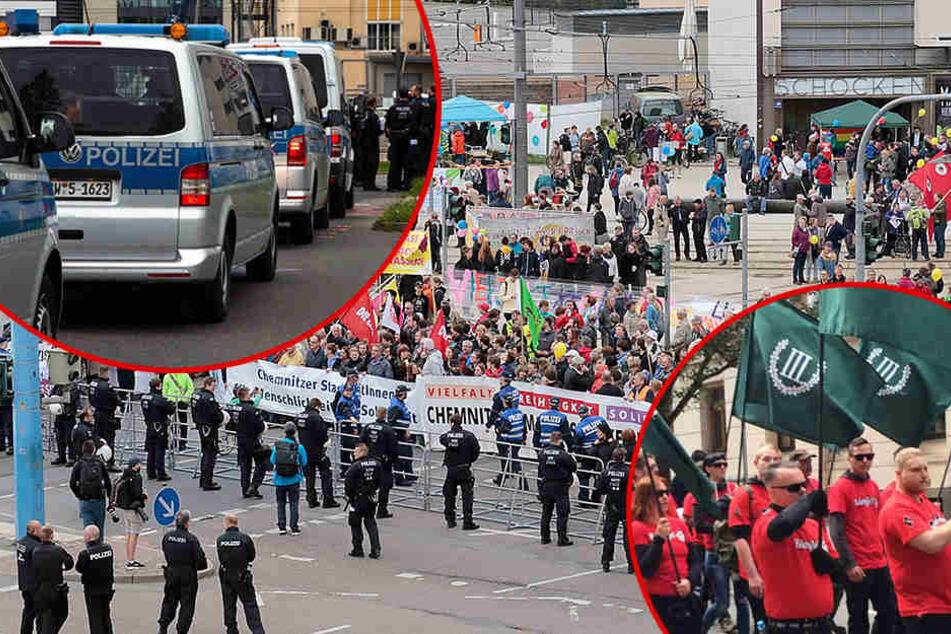 Größter Polizei-Einsatz seit Jahren: Linke und Rechte marschieren in Chemnitz