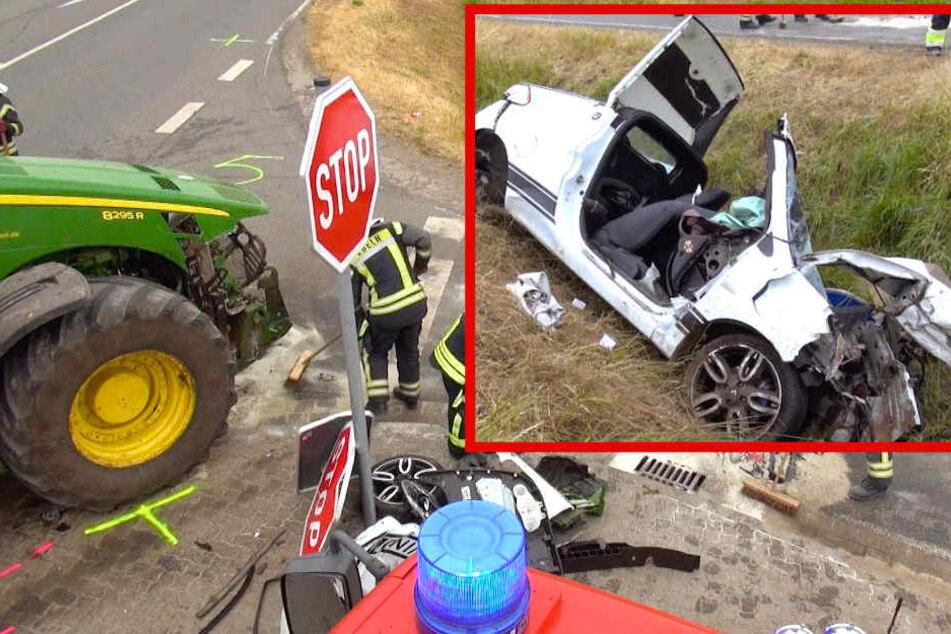 Traktor-Fahrer übersieht Auto: Mann stirbt, Beifahrerin lebensgefährlich verletzt