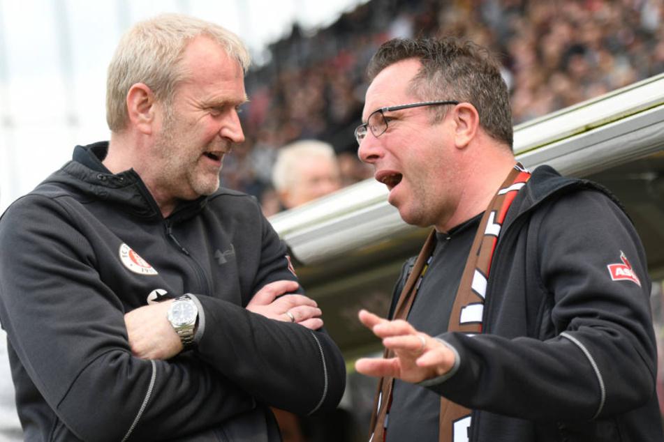 Wollen Pauli unter den besten Teams sehen: Trainer Markus Kauczinski (recht) und Sportchef Uwe Stöver (links) (Archivfoto).