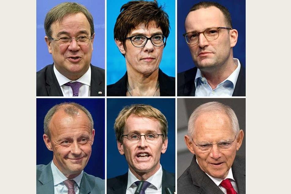 Mögliche Kandidaten für den CDU-Vorsitz (im Uhrzeigersinn): Armin Laschet (CDU), Annegret Kramp-Karrenbauer, Jens Spahn, Friedrich Merz, Daniel Günther, Wolfgang Schäuble.