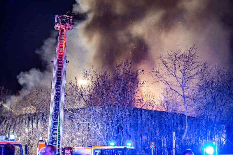 Feuerwehrleute löschen eine brennende Lagerhalle auf dem Messegelände.