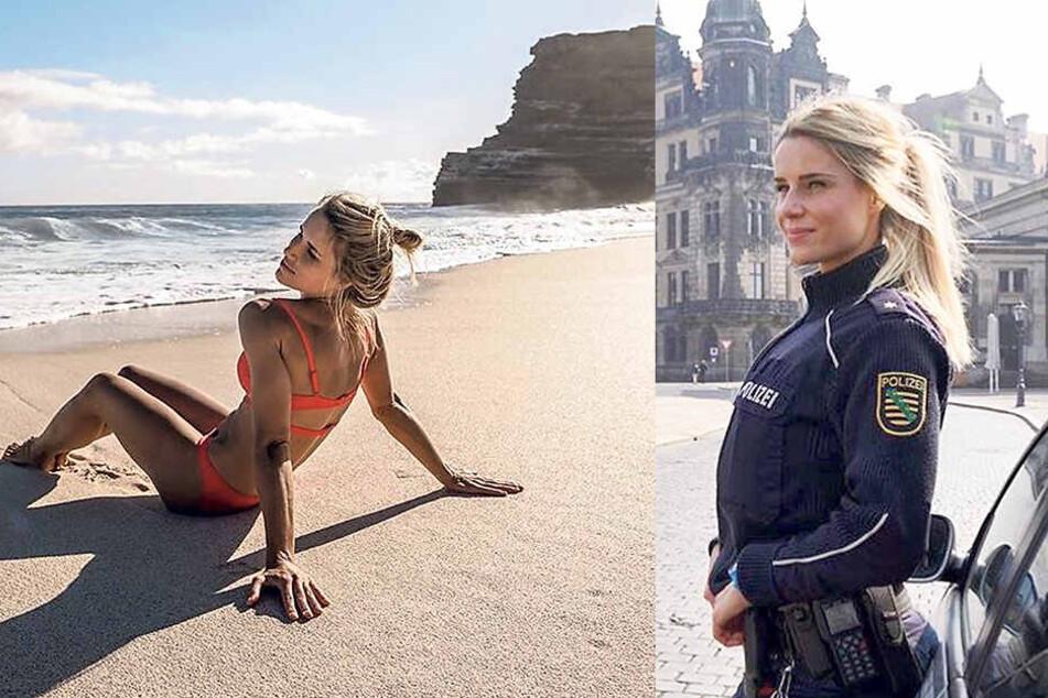 Adrienne Koleszár gilt als Sachsens hübscheste Kommissarin. Mit solchen Bildern verzückt Adrienne im Internet mehr als 700000 Fans.