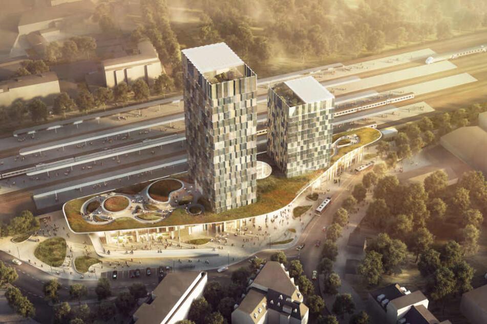 Die Visualisierung des Architektenbüros zeigt den geplanten Bahnhof Altona am Diebsteich in Hamburg.