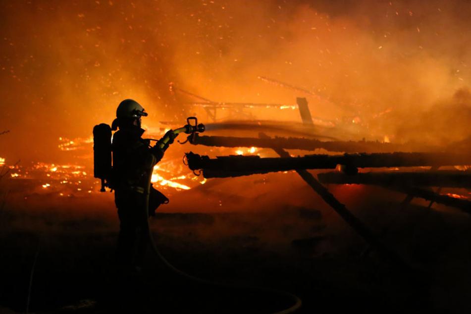Trotz des Feuerwehreinsatzes brannte die Scheune vollständig ab. (Symbolbild)