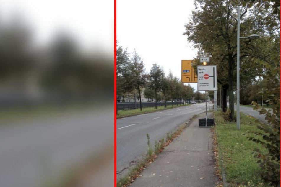Das Schild steht auf der Leipziger Jahnallee.