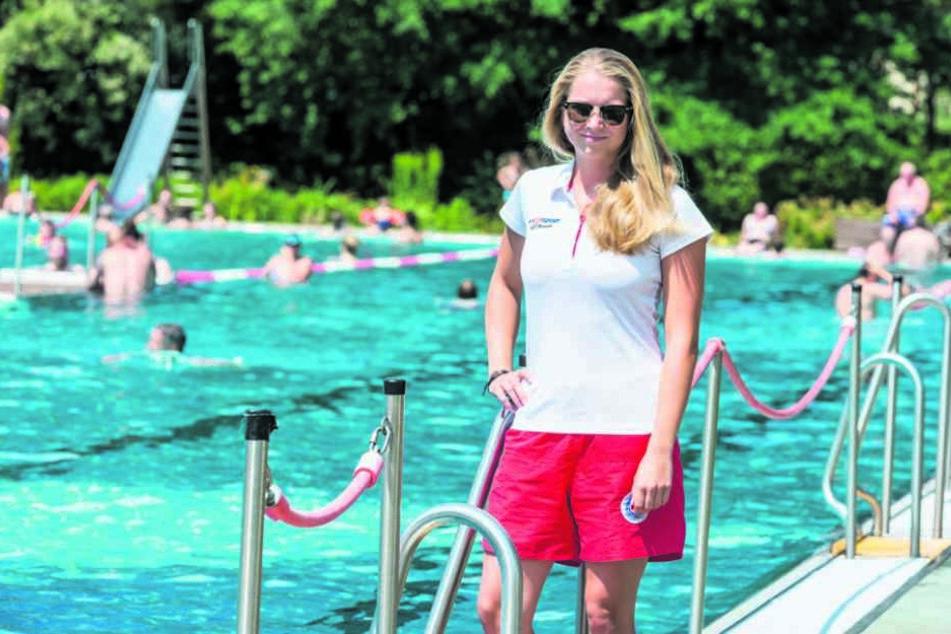 Sorgt für Sicherheit im Bad: Wasserwächterin Jessica Fiedler (19)