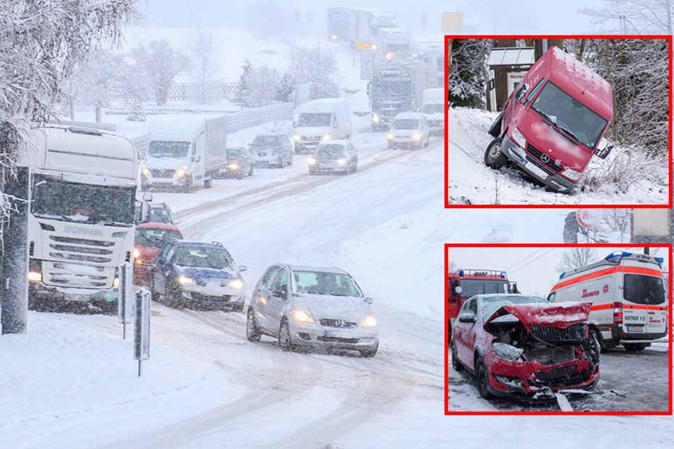 Schnee-Chaos im Erzgebirge! Straßen dicht, Lkw bleiben liegen