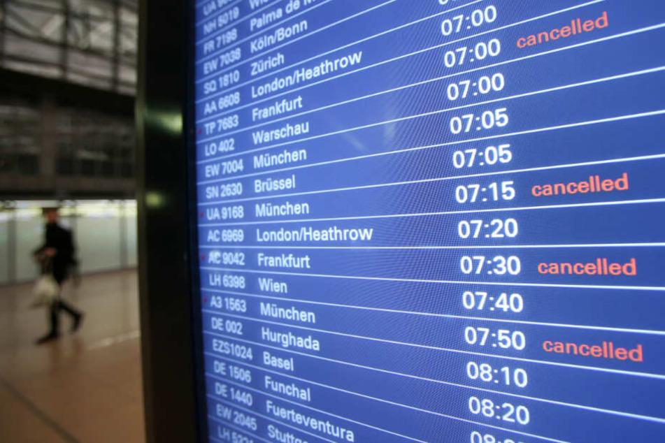 Zahlreiche Lufthansa-Flüge von Hamburg nach Frankfurt und München wurden gecancelled.