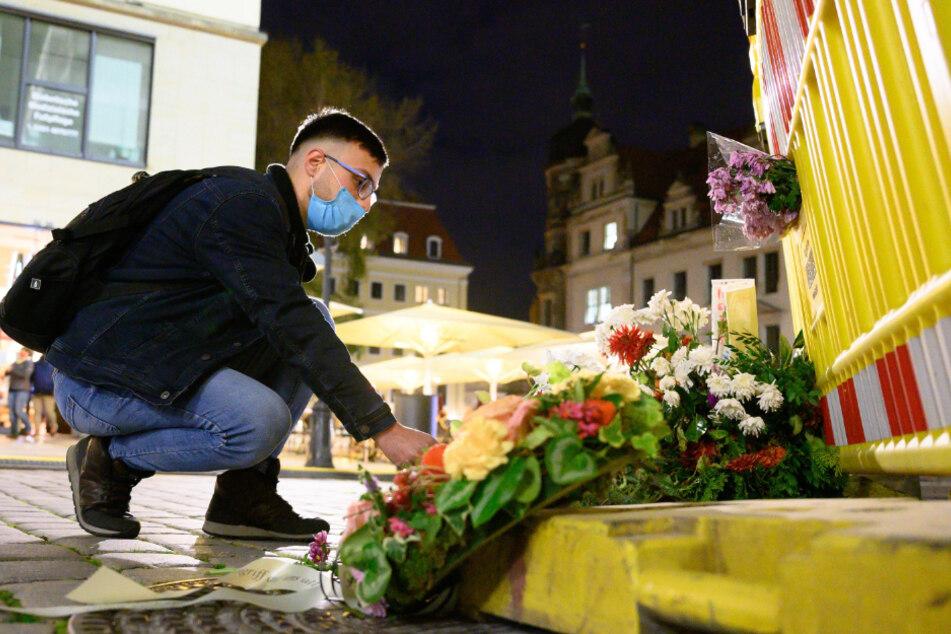 Kranzniederlegung in Dresdner Innenstadt: Andacht am Ort des Mordes