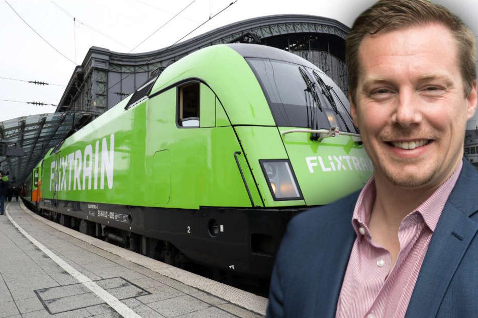 André Schwämmlein, Gründer und Geschäftsführer von Flixbus, ist mehr als zufrieden mit dem Schienen-Vorstoss. (Bildmontage)
