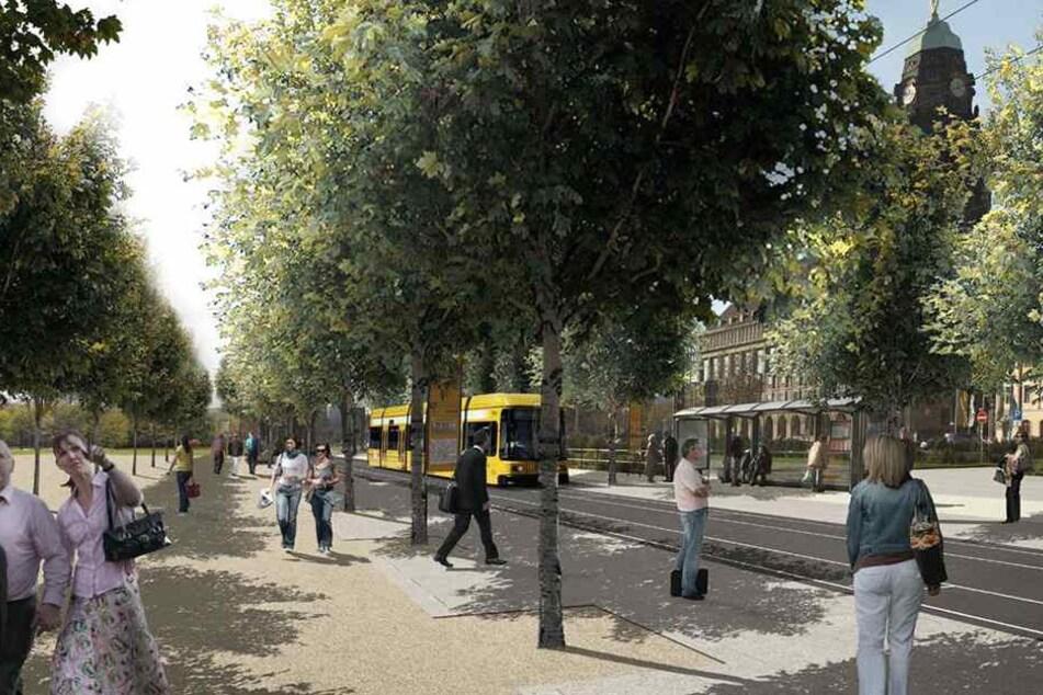 So soll der Promenadenring am Pirnaischen Platz aussehen. Wann gebaut werden kann, ist noch unklar.