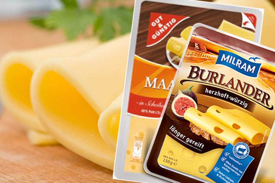 """Marken wie z.B. """"Milram"""" und """"Gut & Günstig"""" rufen verschiedenen Käsesorten zurück."""