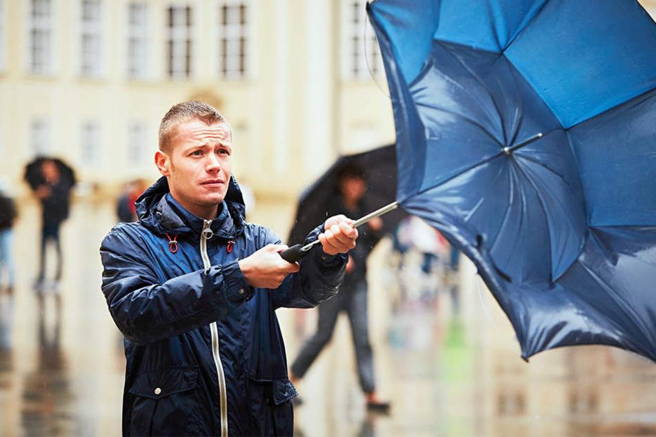 Schlechte Kombi: Bei starken Sturmböen und Regen hilft oft auch kein Regenschirm mehr.