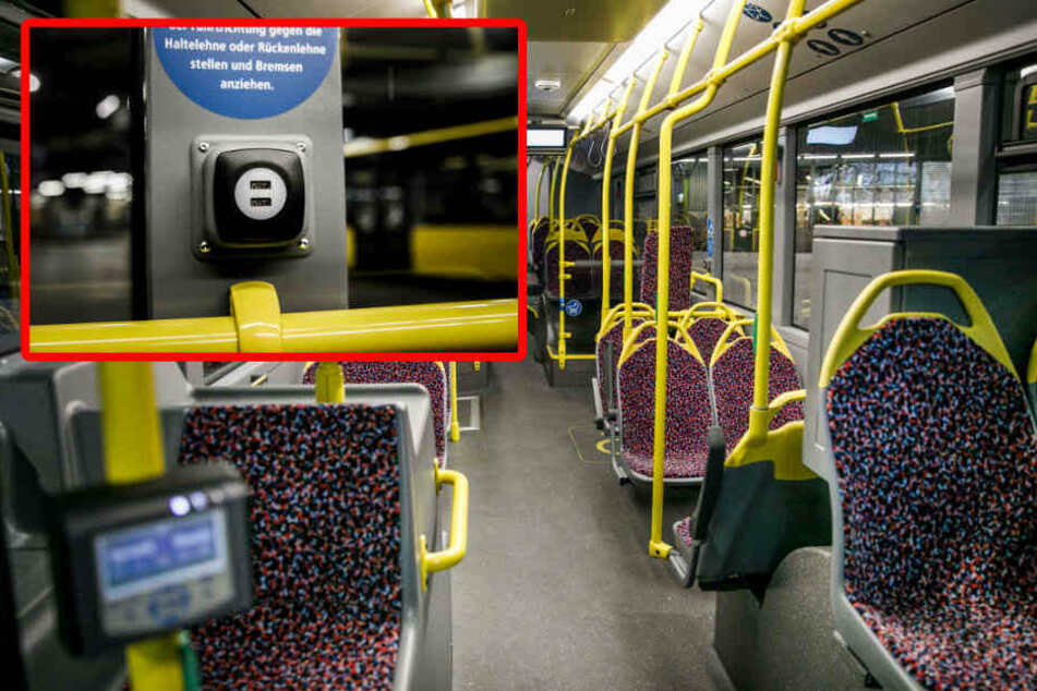 Über USB-Buchsen können Fahrgäste ihre Handys laden.