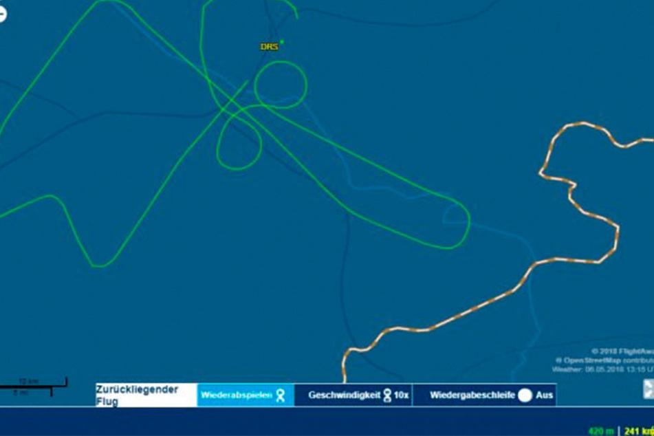 Kein Zufall: Der Flugradar zeigte deutlich den übergroßen Penis, der von Dresden bis Bad Schandau reichte.
