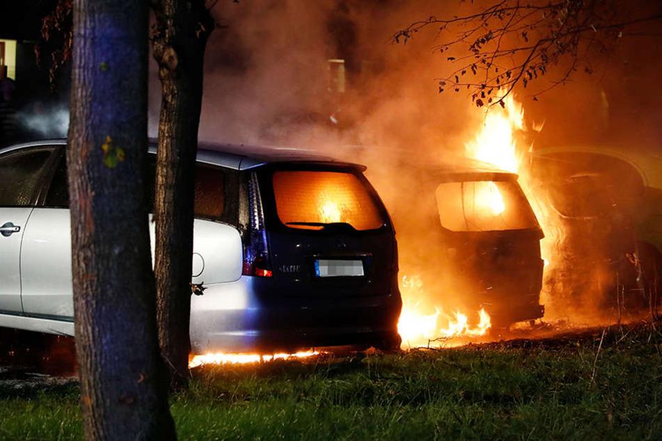 Drei Autos im Beimlergebiet standen lichterloh in Flammen.