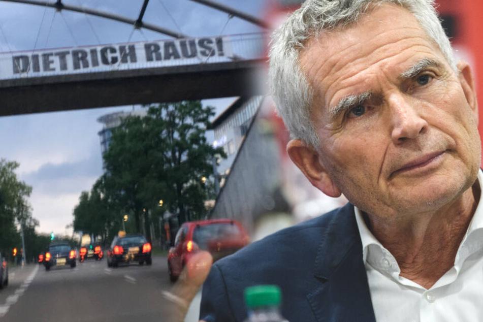 """Kurz vor VfB-Mitgliederversammlung: Brücken mit """"Dietrich raus""""-Banner """"dekoriert"""""""