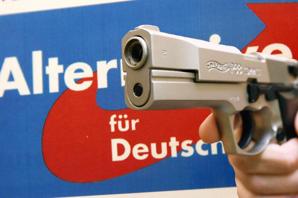 Bei einer Wahlkampf-Veranstaltung der AfD in Frankfurt wurde angeblich eine scharfe Waffe gezückt (Symbolbild).