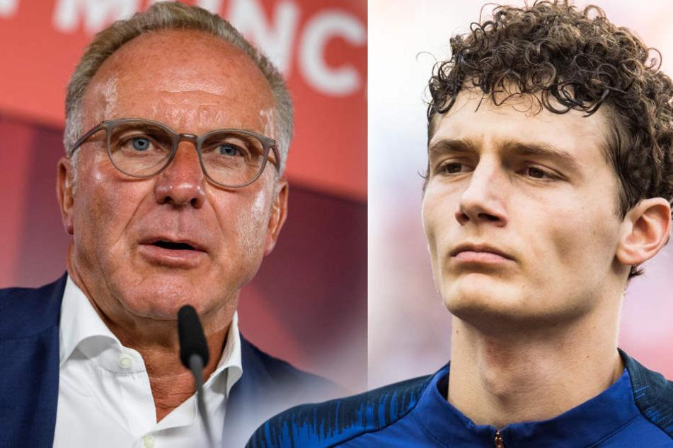 Karl-Heinz Rummenigge (l) sieht auch bei einem möglich Verkauf von Boateng keinen Bedarf an Benjamin Pavard (r).
