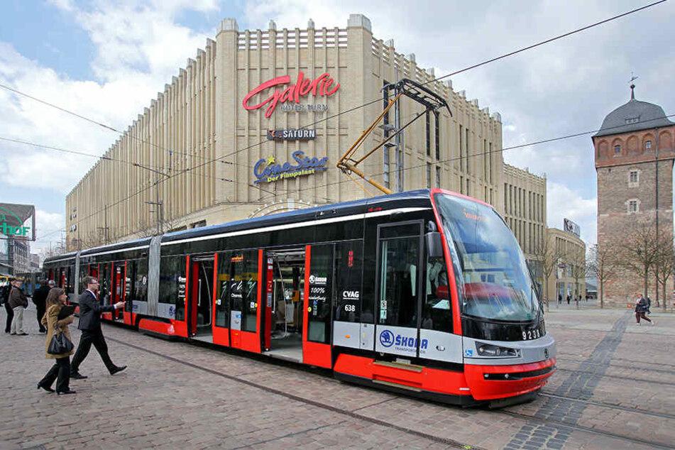 Die Bahn aus dem Hause Skoda 2012 bei Probefahrten in Chemnitz.
