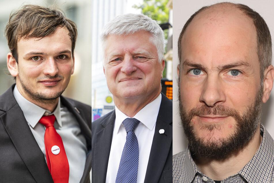 v.l.n.r.: Paul Vogel (29, Die PARTEI), Ulrich Oehme (60, AfD) und Martin Kohlmann (43, Pro Chemnitz).