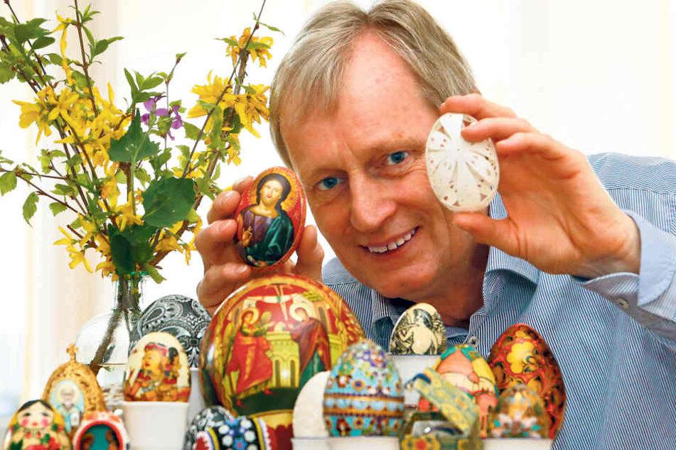 Bei ihm geht's wieder rund: Rechtzeitig zu Ostern holte Sammler Erhard  Schwerin wieder seine Eier aus dem Depot.