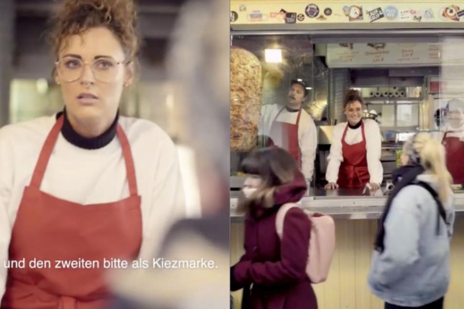 """Mit einem humorvollen Spot werben Sängerin Jennifer Weist (l.), Moderatorin Visa Vie (r.) und zahlreiche andere Promis für die neue """"Kiezmarke""""."""