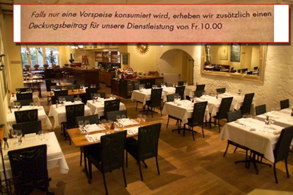 Restaurant verlangt Extra-Gebühr für Leute mit wenig Hunger