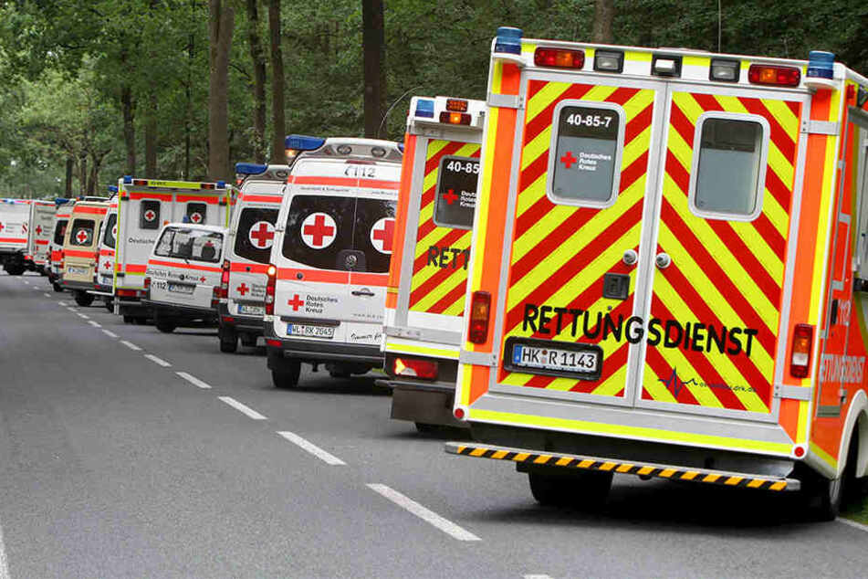 Zahlreiche Rettungswagen und Notärzte mussten anrücken, nachdem es zu der Massenvergiftung gekommen war.