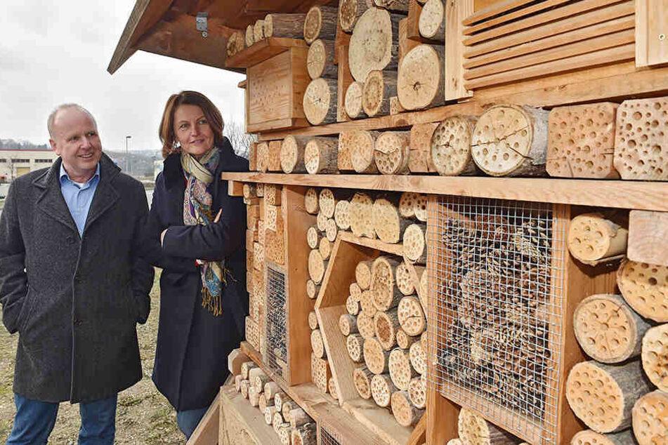 Ralf Strothteicher (55) und Gunda Röstel (57) von der Stadtentwässerung am neuen Insektenhotel.