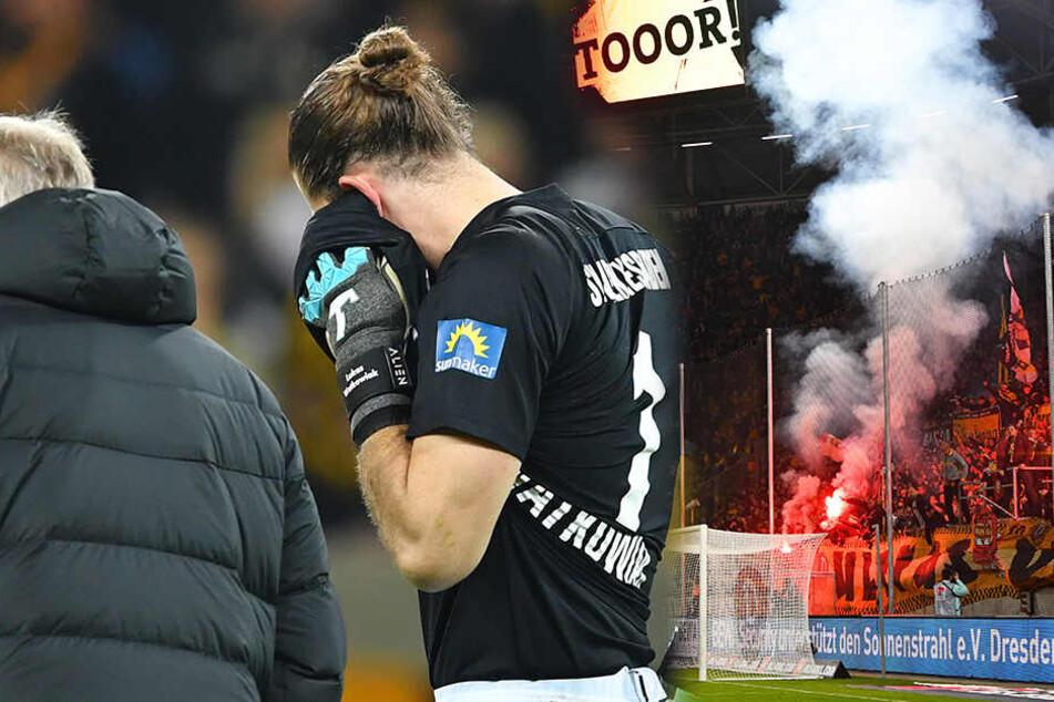 Dem Sportsgeist von Wiesbadens Torhüter Lukas Watkowiak war es zu verdanken, dass die Partie nach dem Böllerwurf überhaupt weiter ging.