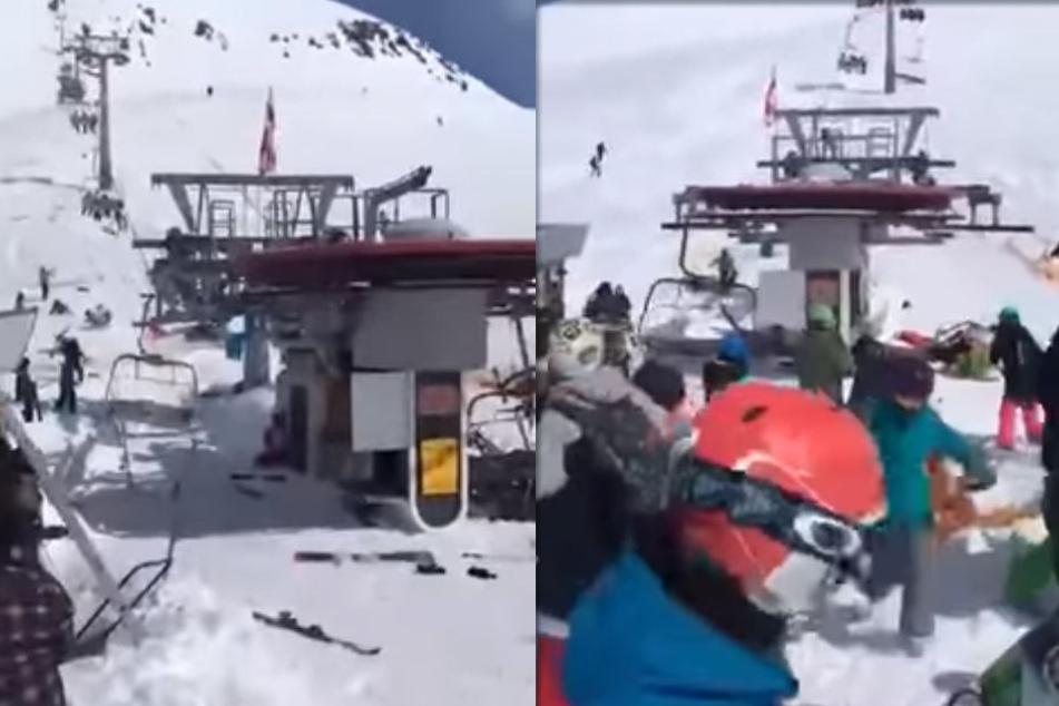 Schock-Video! Ski-Lift schleudert Menschen umher