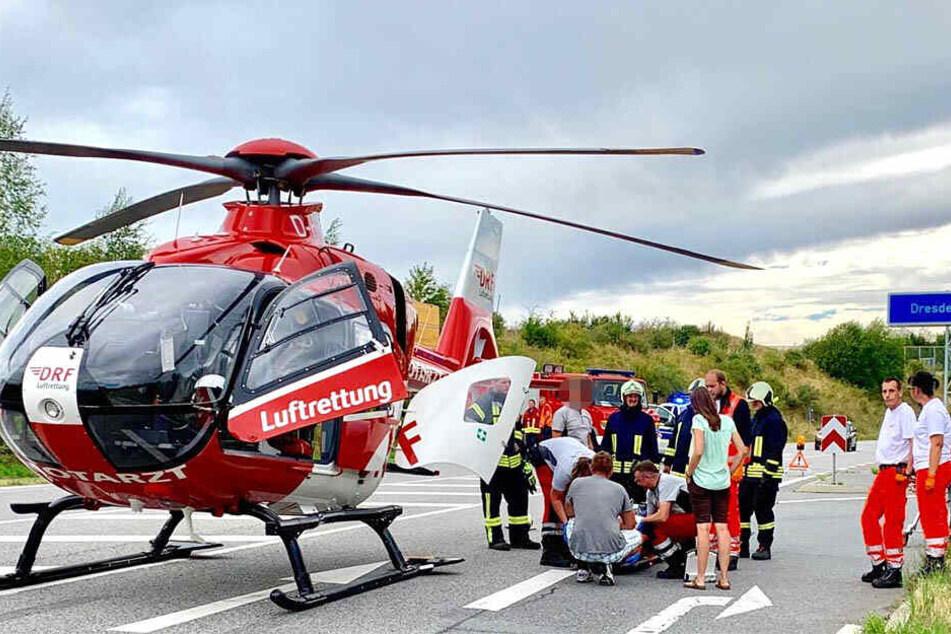 Hubschrauber-Einsatz nach heftigem Crash an der A17