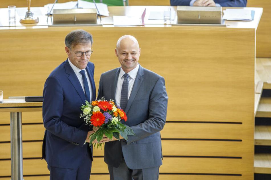 Matthias Rößler (64, CDU, links) bleibt Präsident. André Wendt (48, AfD, rechts) ist neuer zweiter Vizepräsident.