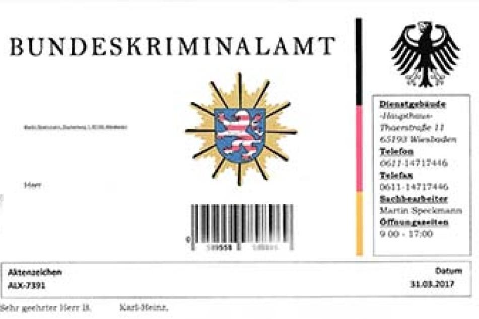 Mit dem BKA-Logo und Briefkopf macht das Schreiben auf den ersten Blick einen seriösen Eindruck.