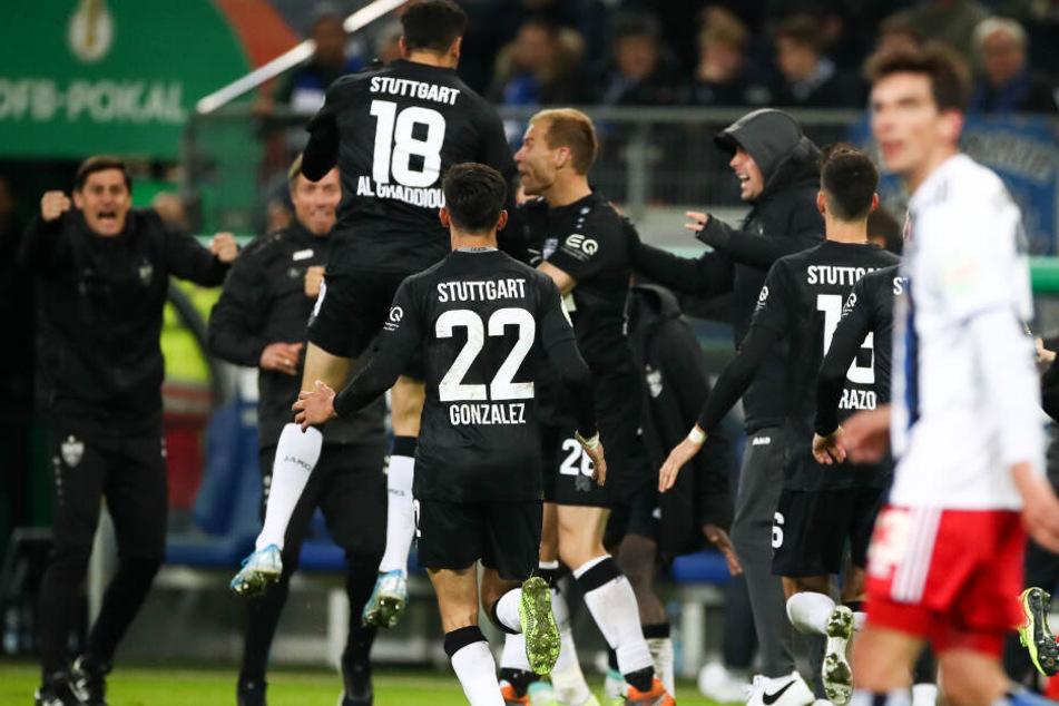 Jubel beim VfB Stuttgart nach dem Pokal-Erfolg gegen den HSV.