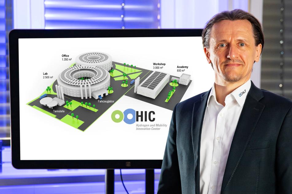 """Prof. Dr. Thomas von Unwerth (TU Chemnitz) ist Initiator der sächsischen Bewerbung vor einer Ansicht des """"Hydrogen and Mobility Innovation Center"""" (HIC)."""